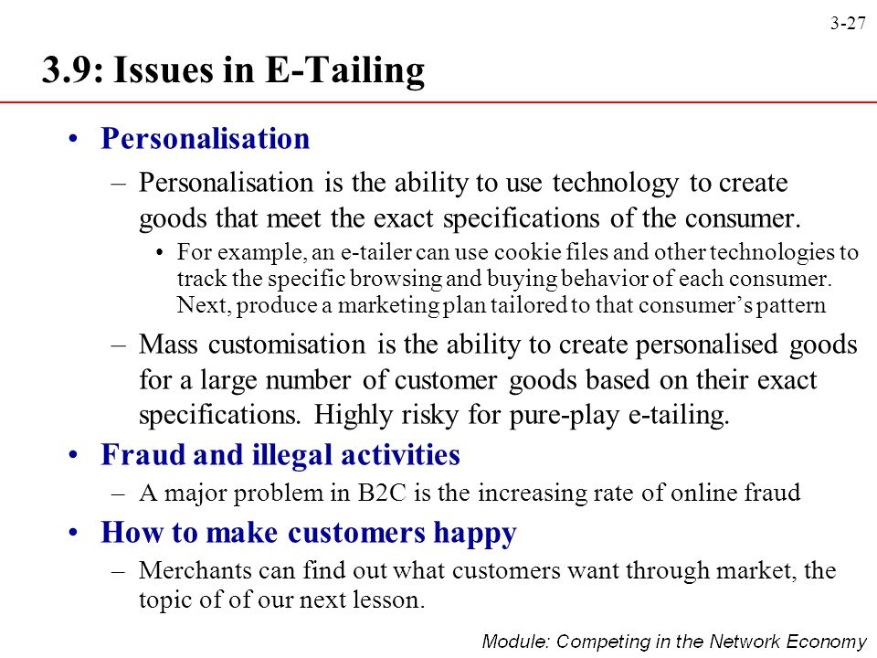 3.9: Issues in E-Tailing Personalisation Fraud and illegal activities