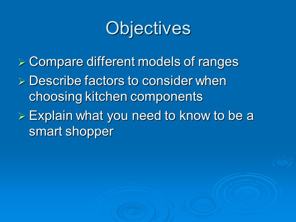 Objectives Compare different models of ranges