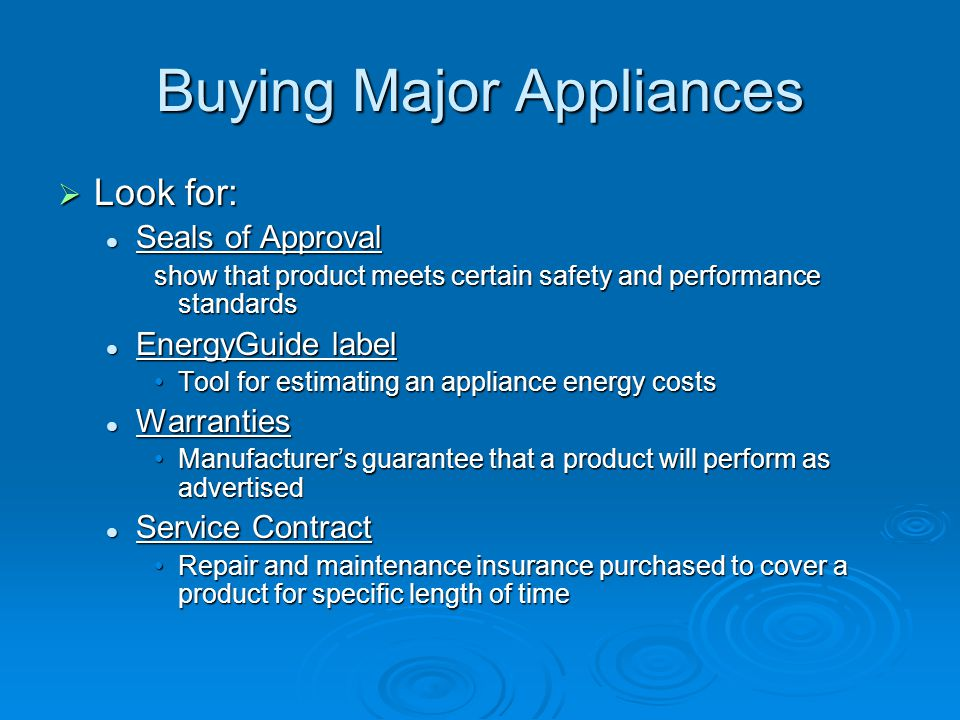 Buying Major Appliances