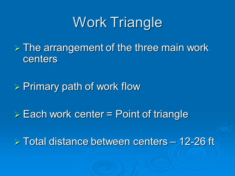 Work Triangle The arrangement of the three main work centers