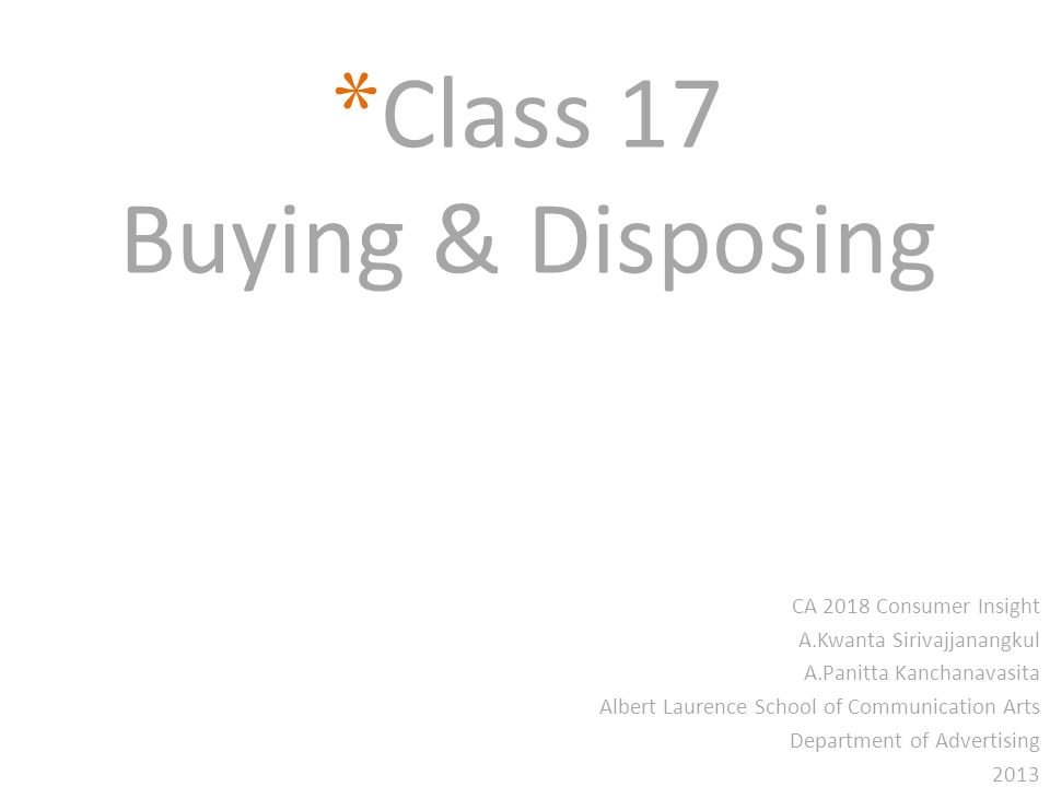 Class 17 Buying & Disposing