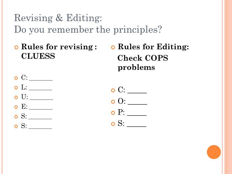 Revising & Editing: Do you remember the principles