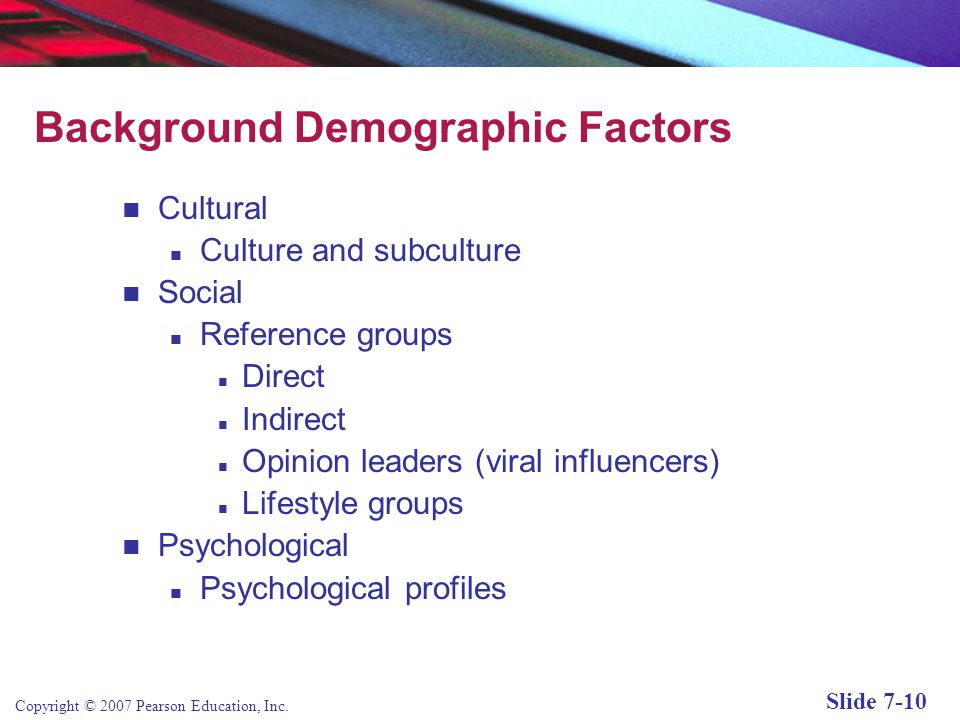 Background Demographic Factors