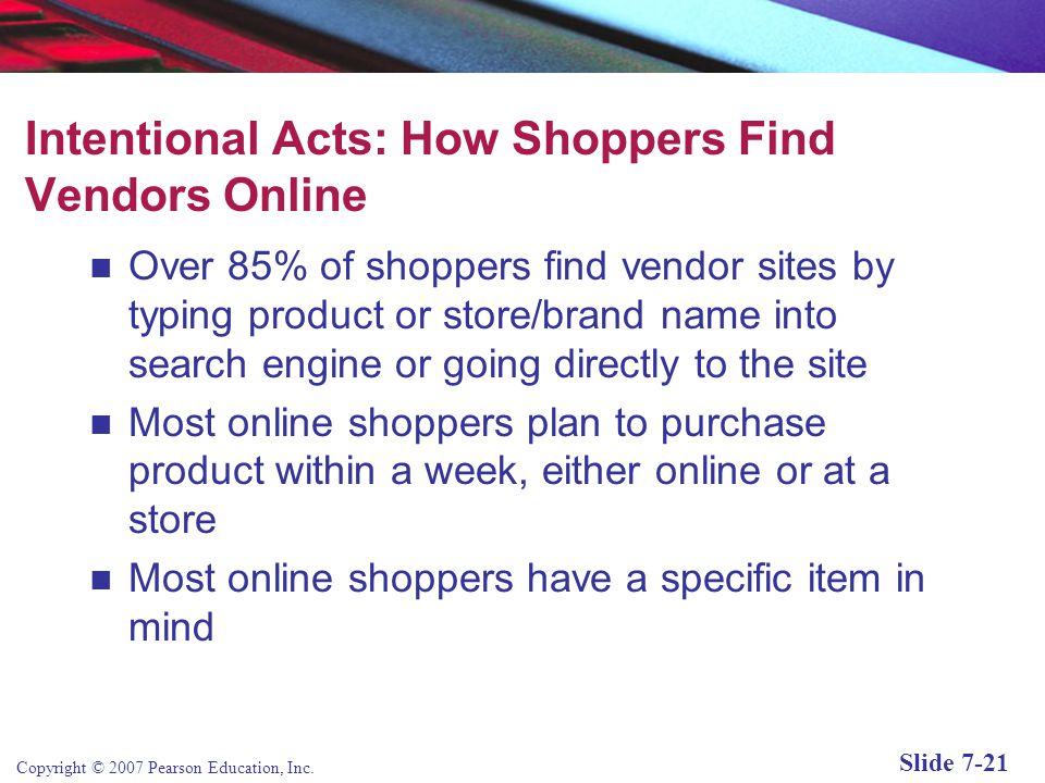 Intentional Acts: How Shoppers Find Vendors Online