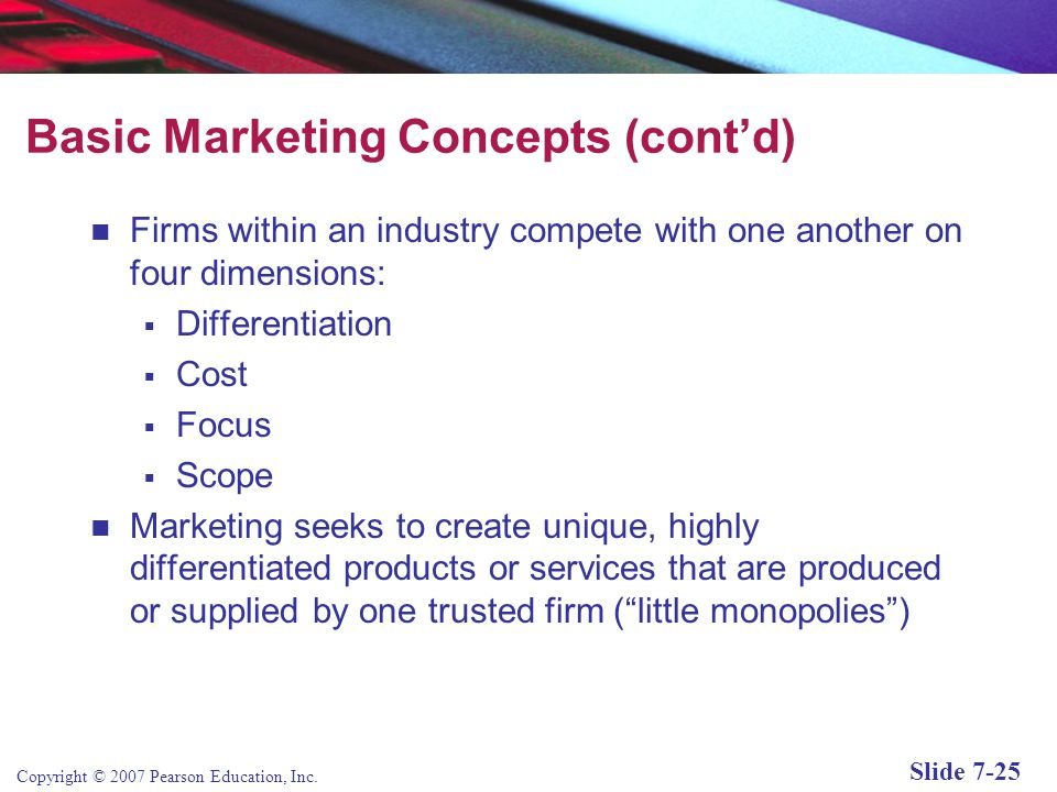 Basic Marketing Concepts (cont'd)