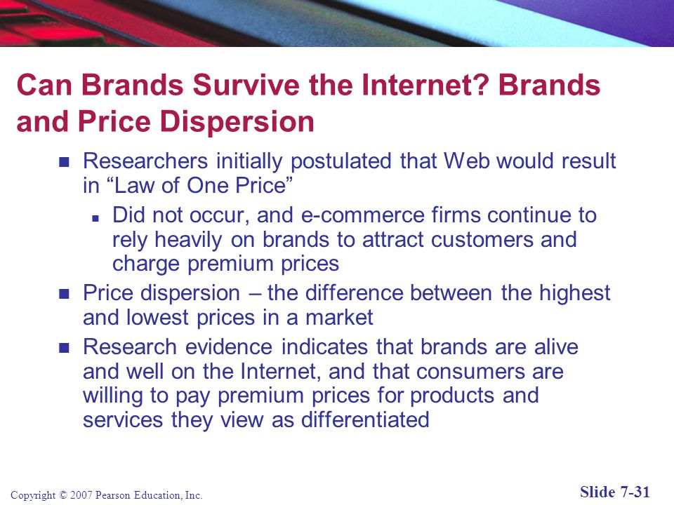 Can Brands Survive the Internet Brands and Price Dispersion