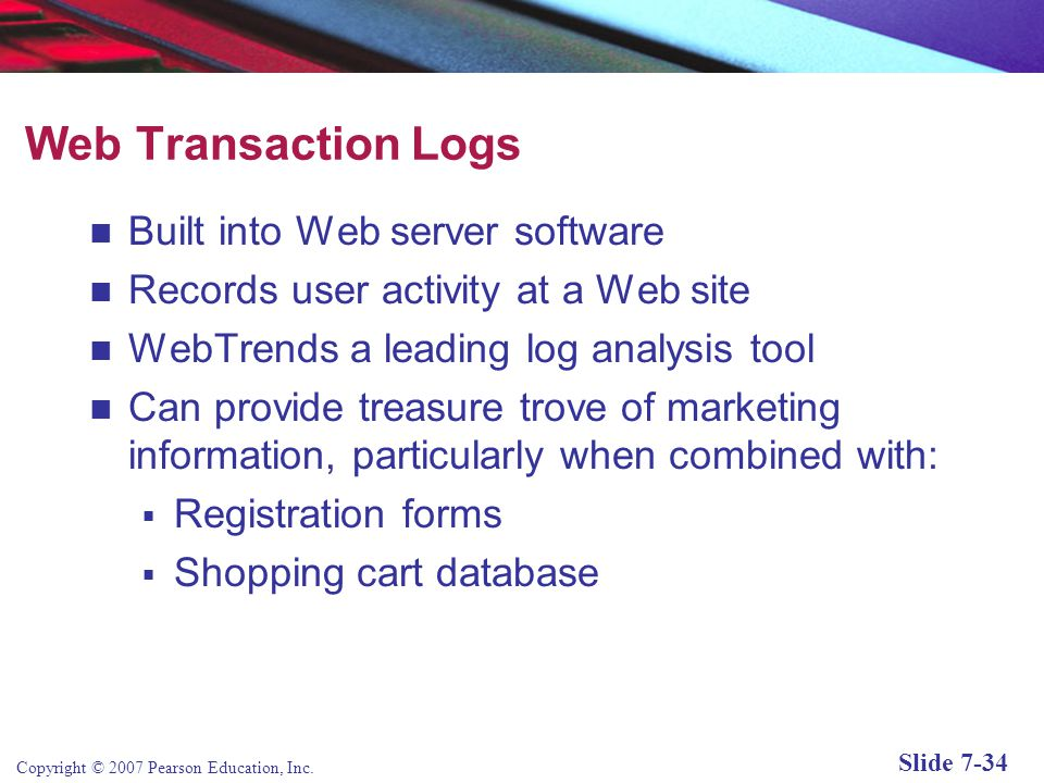 Web Transaction Logs Built into Web server software
