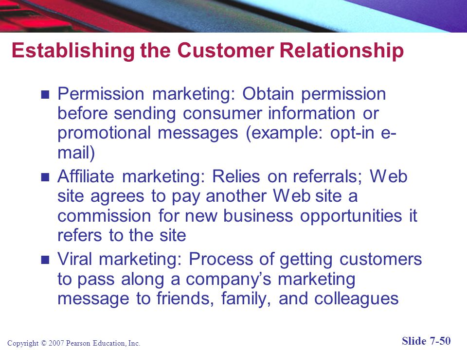 Establishing the Customer Relationship