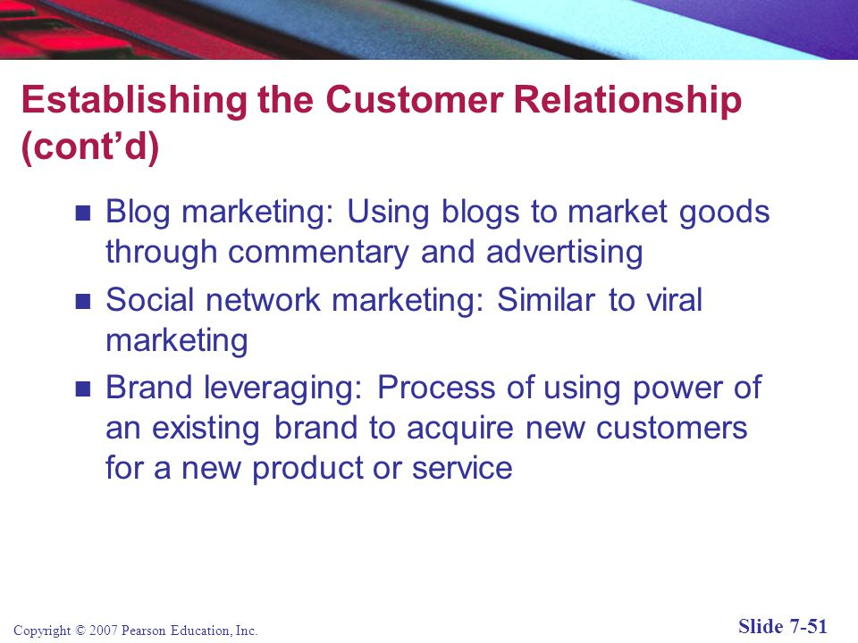 Establishing the Customer Relationship (cont'd)