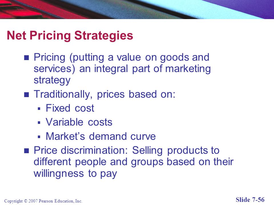 Net Pricing Strategies