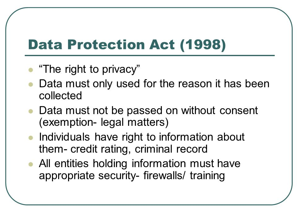 Data Protection Act (1998) The right to privacy