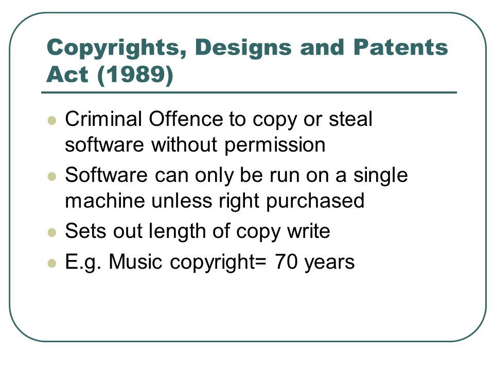Copyrights, Designs and Patents Act (1989)