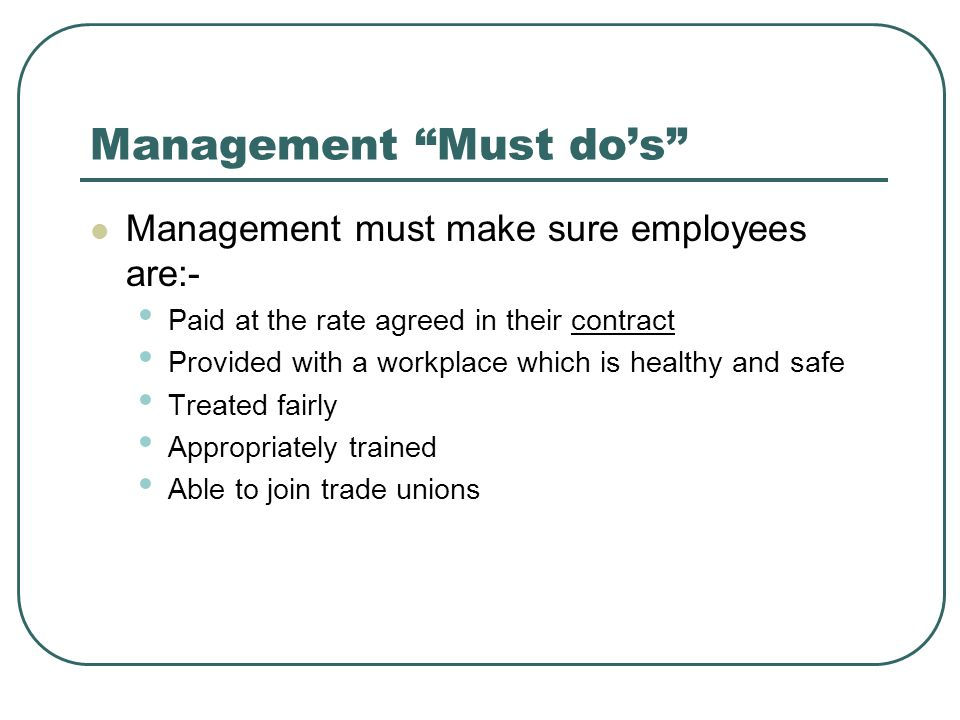 Management Must do's