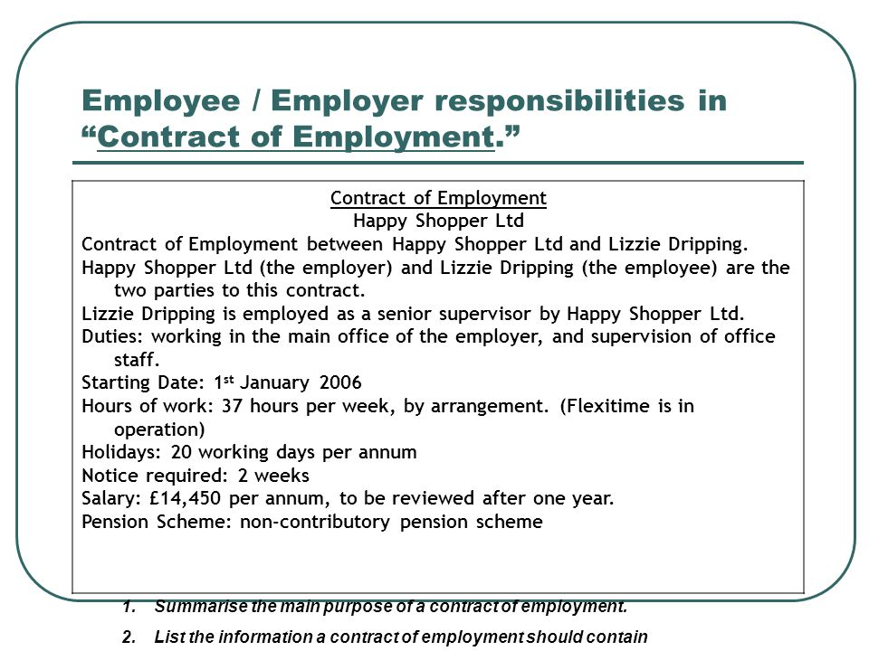 Employee / Employer responsibilities in Contract of Employment.