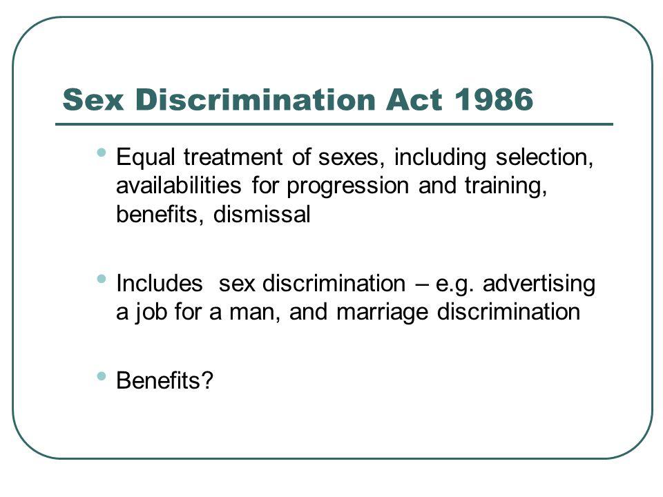 Sex Discrimination Act 1986