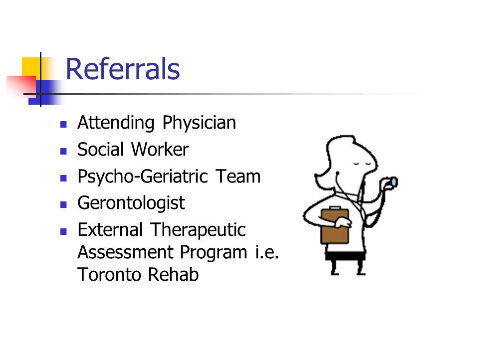 Referrals Attending Physician Social Worker Psycho-Geriatric Team