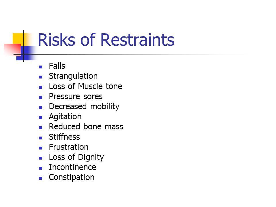Risks of Restraints Falls Strangulation Loss of Muscle tone