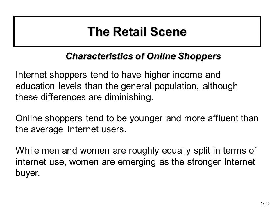 The Retail Scene Characteristics of Online Shoppers