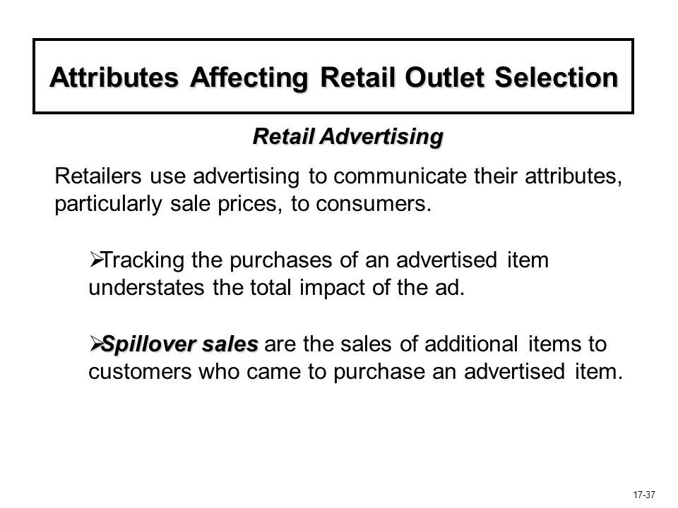 Attributes Affecting Retail Outlet Selection