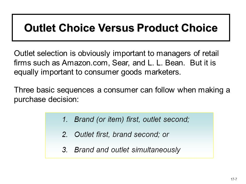 Outlet Choice Versus Product Choice