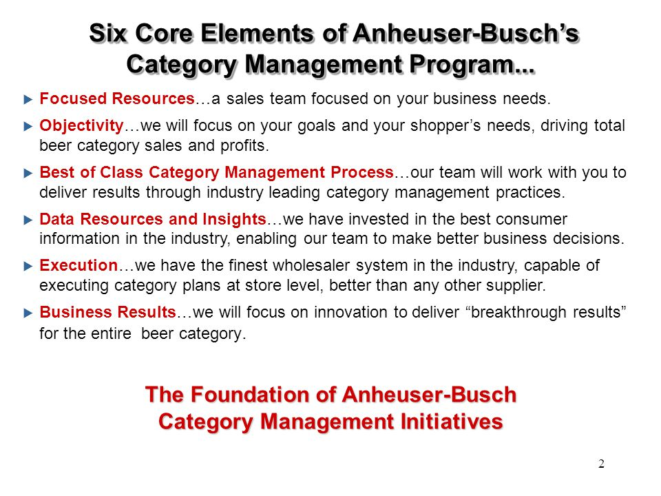 Six Core Elements of Anheuser-Busch's Category Management Program...
