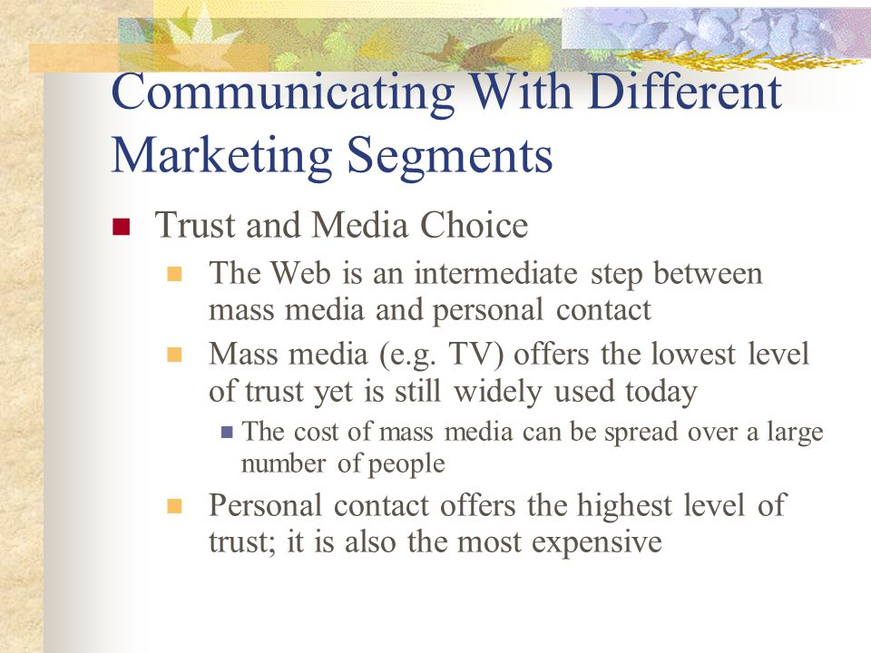 Communicating With Different Marketing Segments