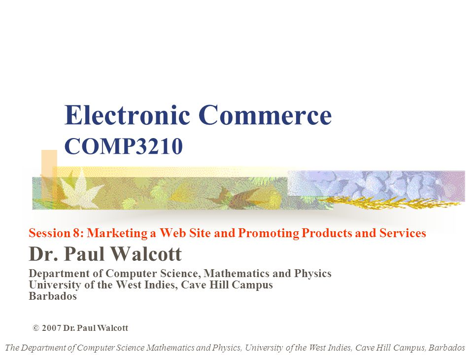 Electronic Commerce COMP3210