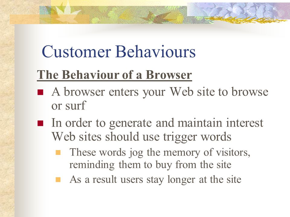 Customer Behaviours The Behaviour of a Browser