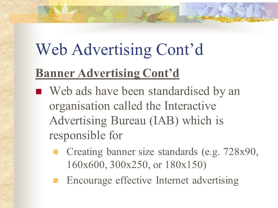 Web Advertising Cont'd