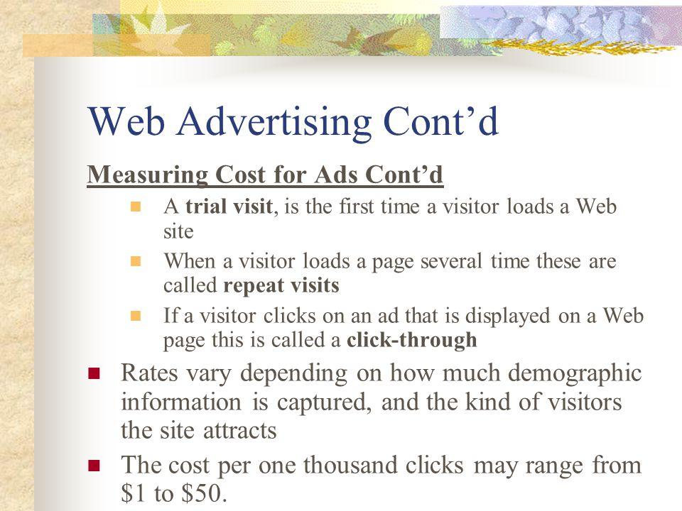 Web Advertising Cont'd