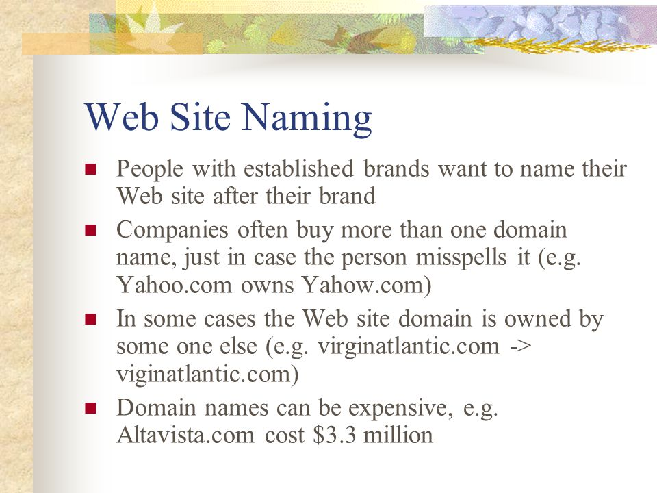 Web Site Naming People with established brands want to name their Web site after their brand.