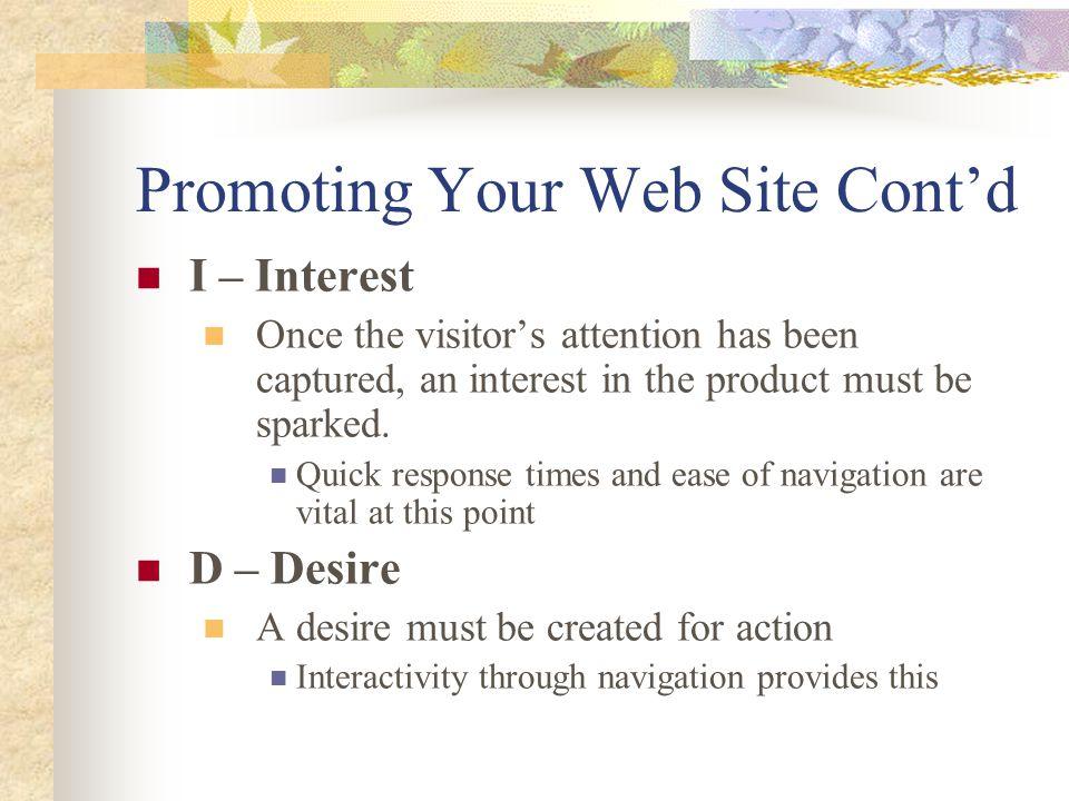 Promoting Your Web Site Cont'd