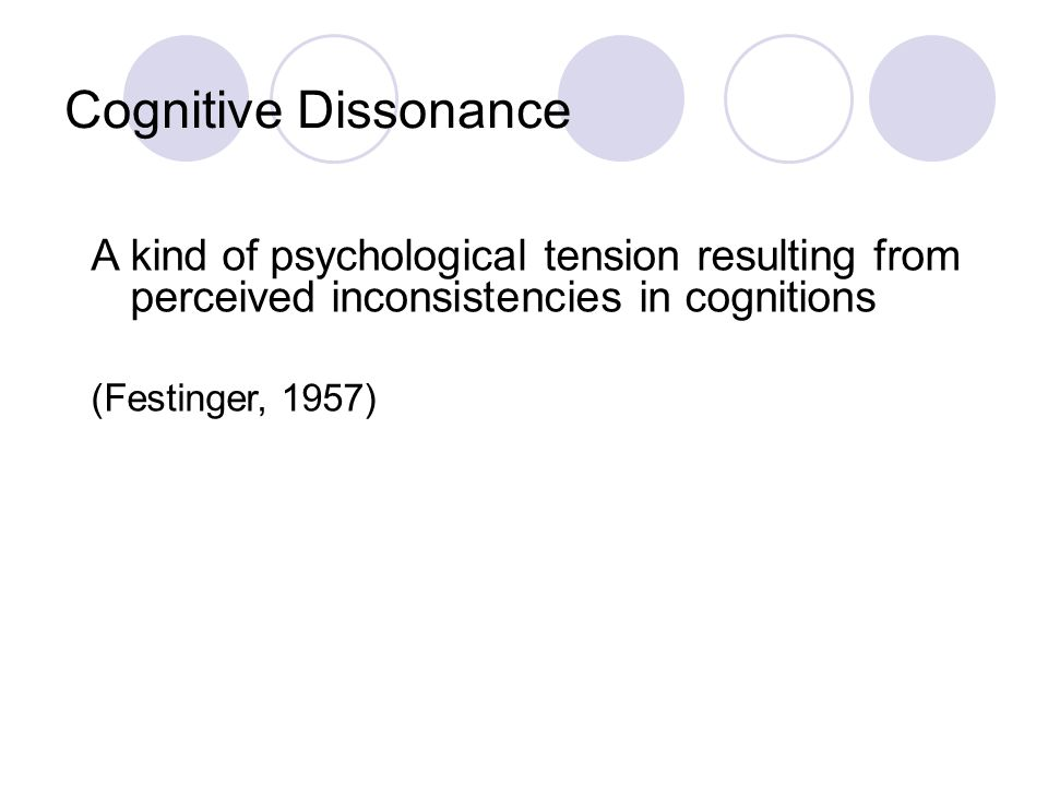 Cognitive Dissonance A kind of psychological tension resulting from perceived inconsistencies in cognitions.
