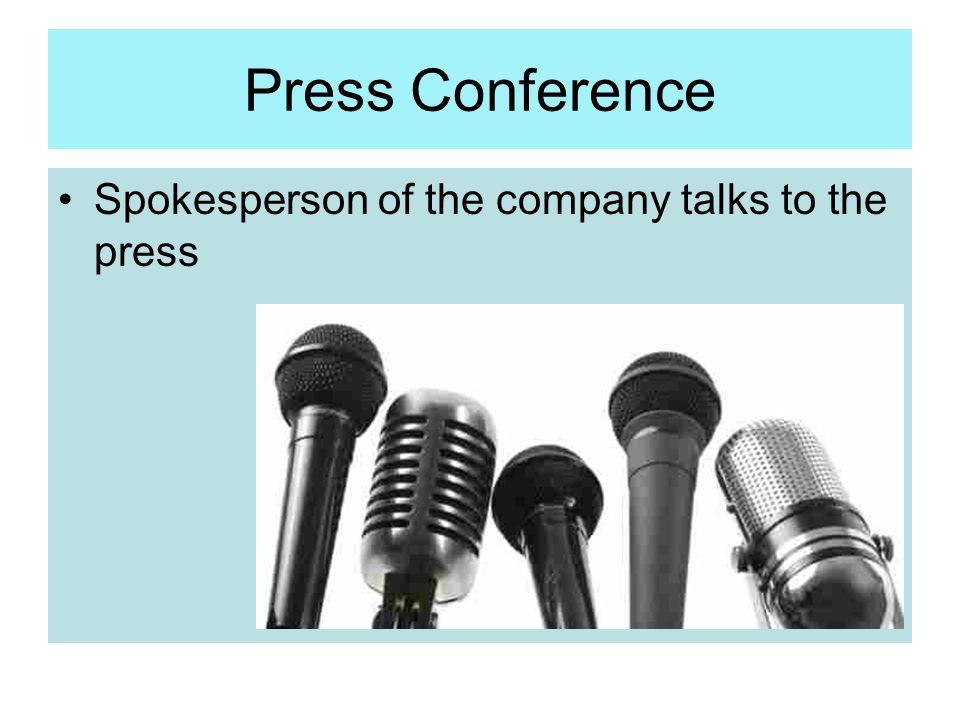Press Conference Spokesperson of the company talks to the press