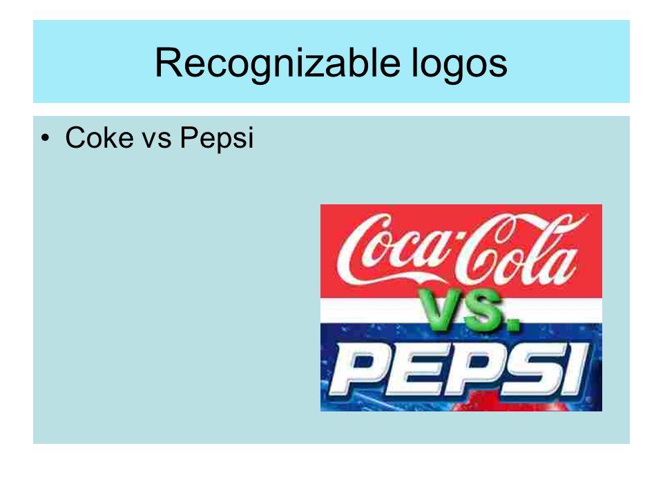 Recognizable logos Coke vs Pepsi