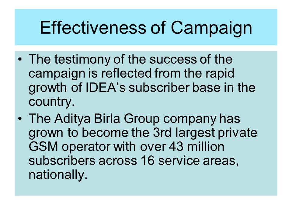 Effectiveness of Campaign