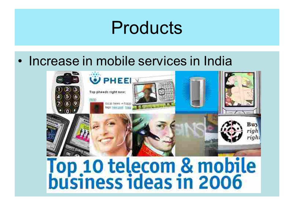 Products Increase in mobile services in India