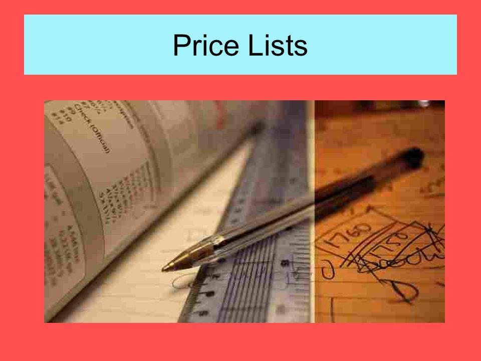 Price Lists
