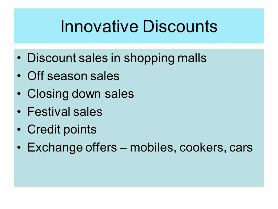 Innovative Discounts Discount sales in shopping malls Off season sales