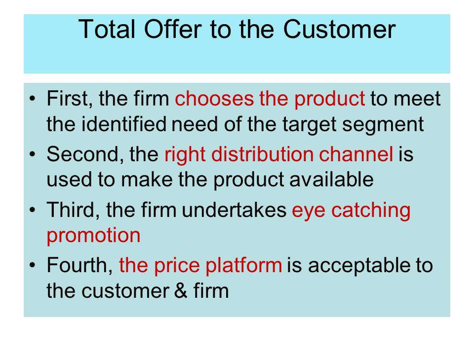 Total Offer to the Customer