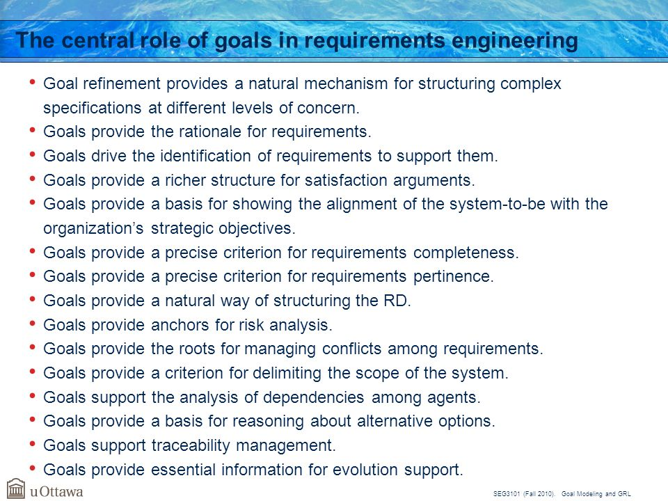 The central role of goals in requirements engineering