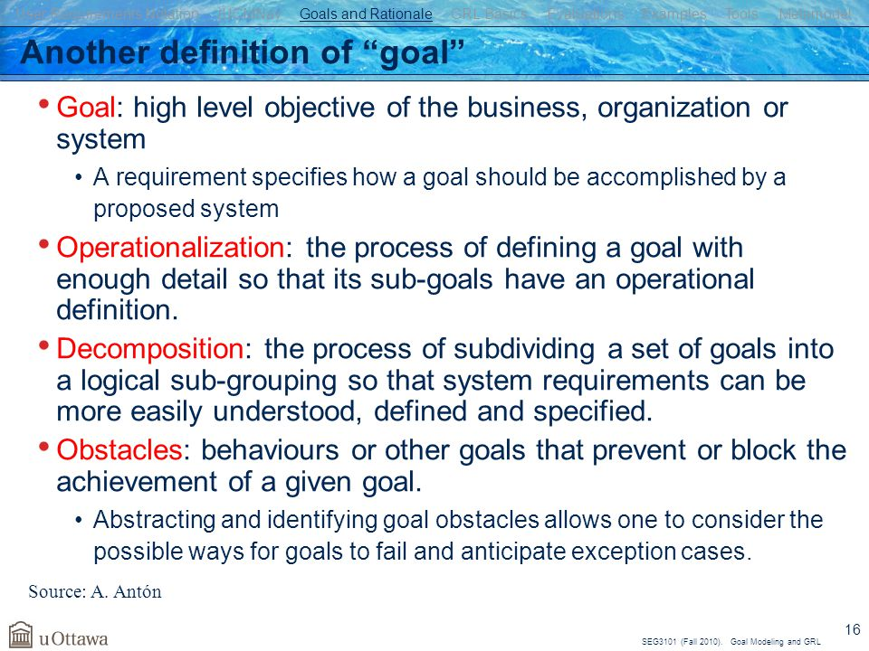 Another definition of goal