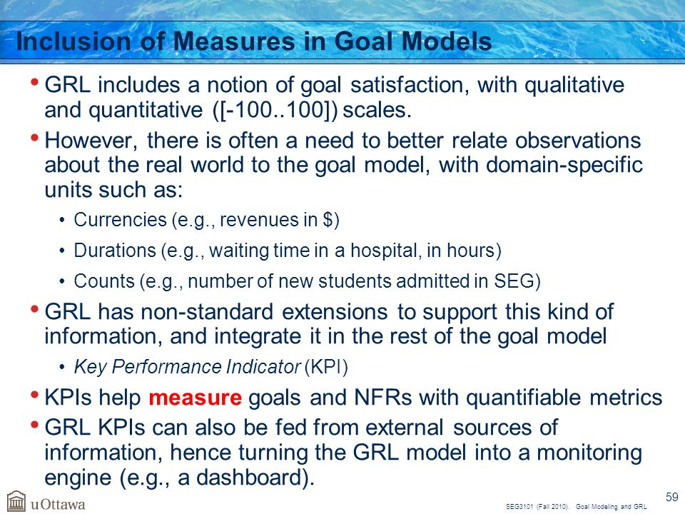 Inclusion of Measures in Goal Models