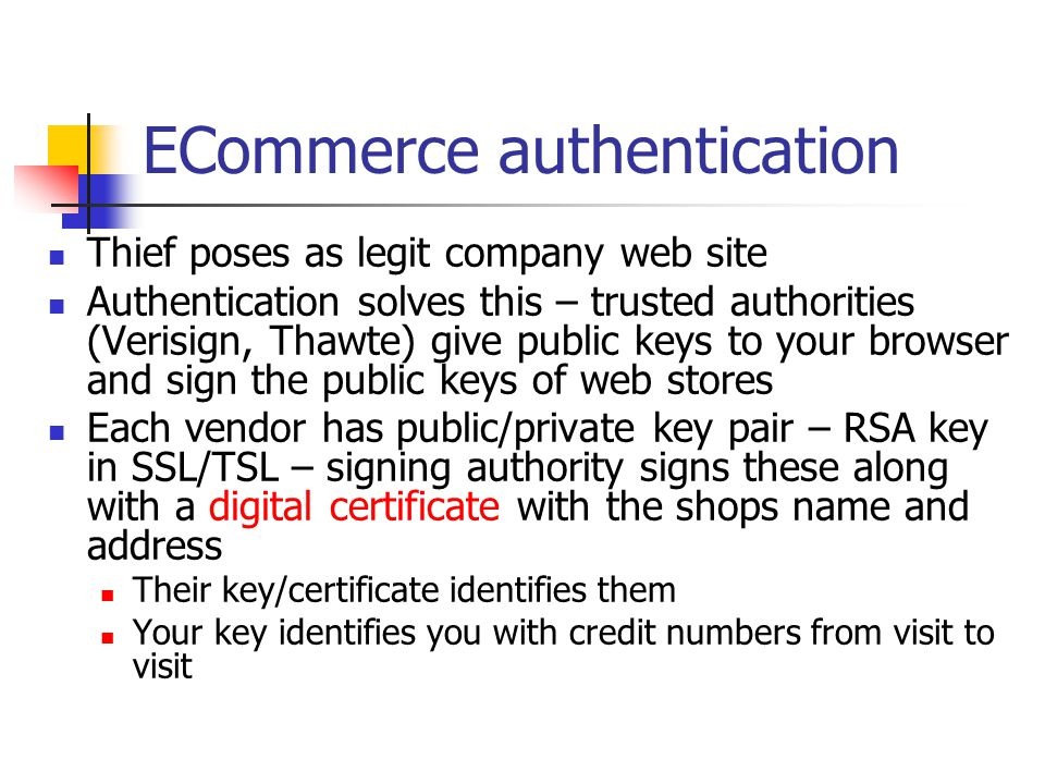 ECommerce authentication
