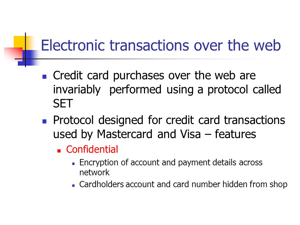 Electronic transactions over the web