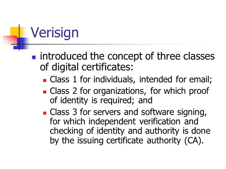 Verisign introduced the concept of three classes of digital certificates: Class 1 for individuals, intended for email;