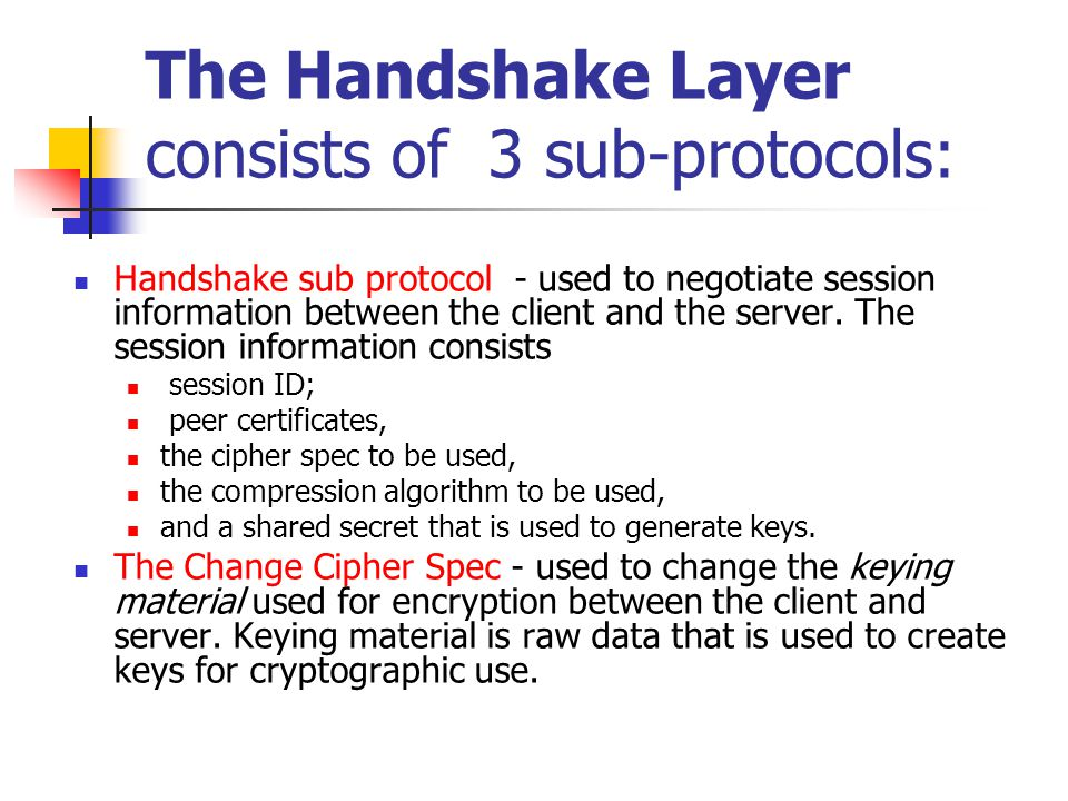 The Handshake Layer consists of 3 sub-protocols: