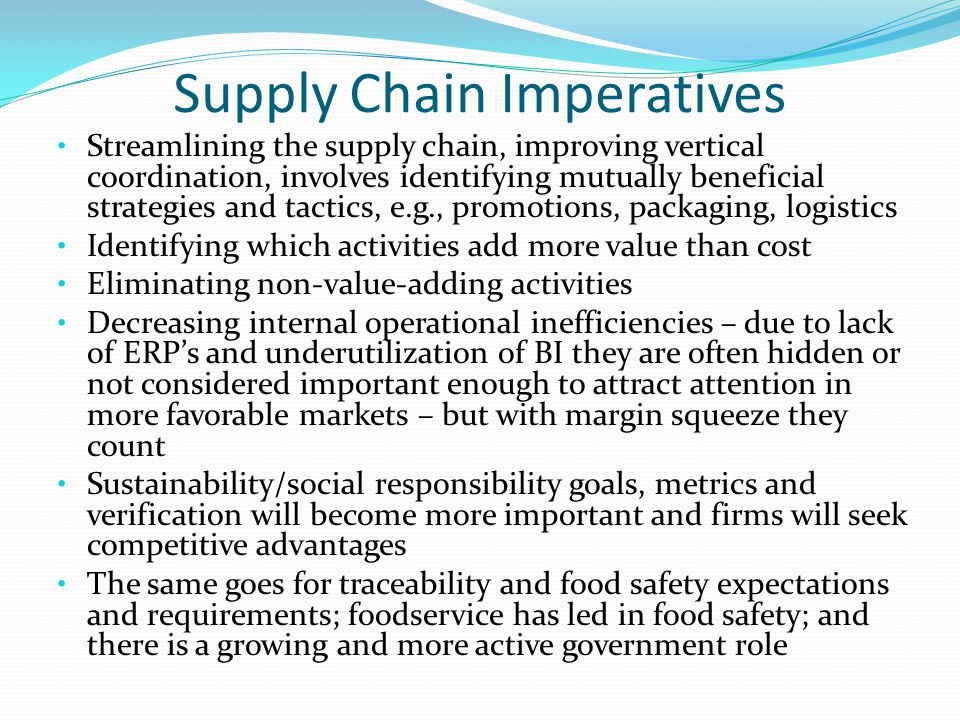 Supply Chain Imperatives