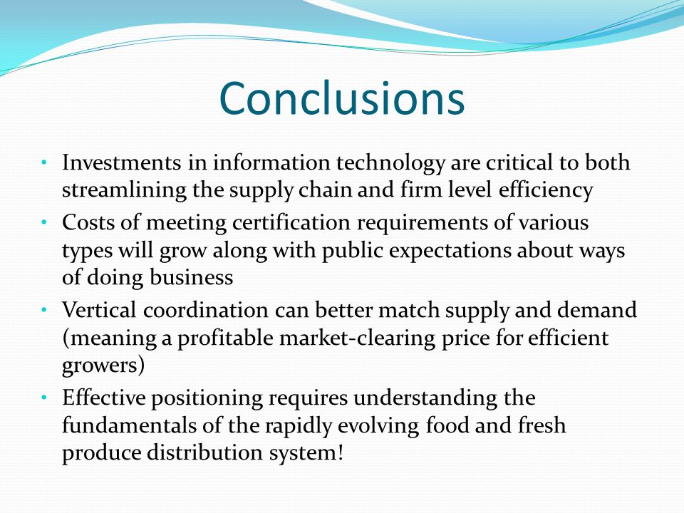 Conclusions Investments in information technology are critical to both streamlining the supply chain and firm level efficiency.