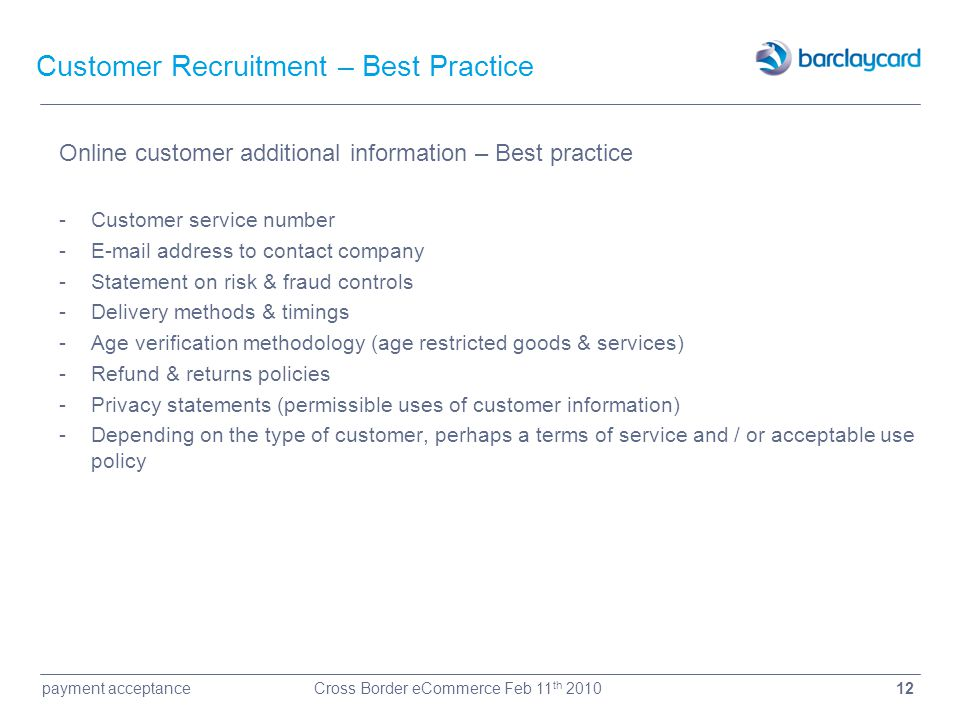 Customer Recruitment – Best Practice